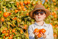 Portrait of attractive cute young boy holding Stock Photos