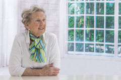 Portrait of an attractive elegant senior woman relaxing at home. Stock Photos