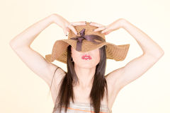 Portrait of attractive elegant sexy woman hat Royalty Free Stock Images