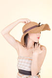 Portrait of attractive elegant sexy woman hat Stock Photos