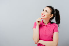 Portrait of an attractive fashionable young brunette woman. Royalty Free Stock Photos