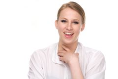 Portrait of an attractive female laughing Royalty Free Stock Photos