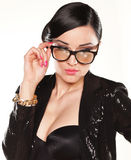 Portrait of Attractive female model with eyeglasses Stock Photography