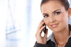 Portrait of attractive female on phone call Royalty Free Stock Photography