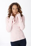Portrait of attractive female in pullover Royalty Free Stock Photography