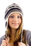 Portrait of attractive female wearing woolen cap Stock Images