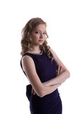 Portrait of attractive girl in dark blue dress Royalty Free Stock Photography