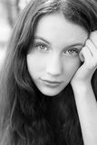 Portrait of attractive girl bw image Royalty Free Stock Photo