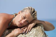 Portrait of attractive girl enjoying sea Royalty Free Stock Photography