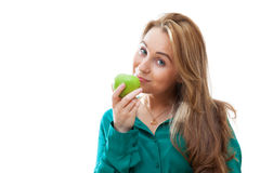 Portrait of an attractive girl with green apple Stock Images