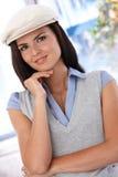 Portrait of attractive girl in hat Stock Photo