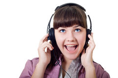 Portrait of attractive girl with headphones Stock Photo