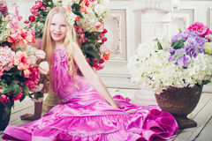Portrait of attractive girl with long hair with flowers Royalty Free Stock Image