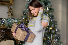 Portrait of attractive girl in pullover holding gift box Stock Photography
