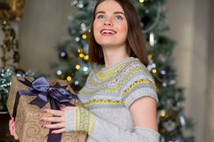 Portrait of attractive girl in pullover holding gift box Royalty Free Stock Image