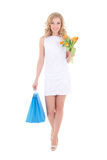 Portrait of attractive girl with shopping bags Royalty Free Stock Images