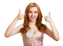Portrait of attractive girl showing thumbs up sign Stock Images