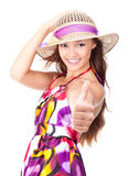 Portrait of an attractive girl shows thumbs-up Royalty Free Stock Images