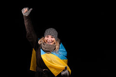 Portrait of attractive girl with Ukrainian flag Royalty Free Stock Images