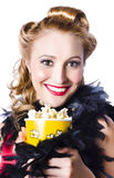 Woman with popcorn Stock Photo