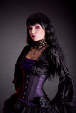 Portrait of attractive gothic girl in elegant medieval costume Stock Photo