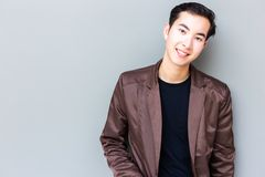 Portrait attractive handsome young guy. Charming handsome young stock photography
