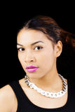 Portrait Attractive Hispanic Woman Necklace Black Background Stock Images