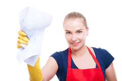 Portrait of attractive housekeeper lady with cleaning rag stock image