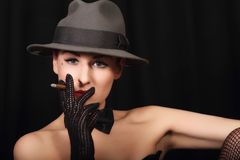 Portrait of attractive lady with hat! Royalty Free Stock Images