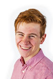 Portrait of attractive laughing smiling boy  on white Stock Images