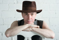 Attractive man in brown hat Royalty Free Stock Photography