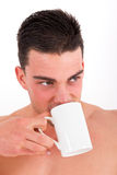 Portrait of attractive man drinking tea Stock Image