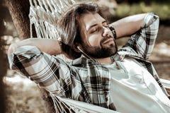 Portrait of attractive man listening to music