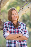 Portrait attractive mature country woman Royalty Free Stock Images