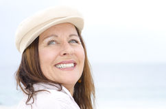 Portrait attractive mature woman outdoor  Stock Photos