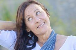 Portrait Attractive mature woman park outdoor Stock Photo