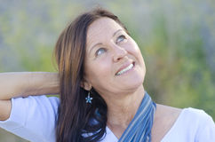 Portrait Attractive mature woman park outdoor Royalty Free Stock Photo