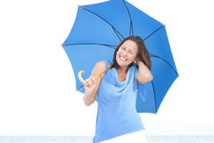 Funny attractive mature woman blue umbrella Stock Images