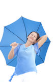 Confident attractive mature woman blue umbrella Stock Image