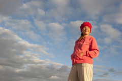 Portrait attractive mature woman at sunrise Royalty Free Stock Photo