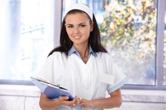 Portrait of attractive nurse smiling Stock Photo