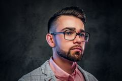 Portrait of attractive pensive man in checkered blazer, pink shirt and glasses royalty free stock images