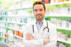 Portrait of an attractive pharmacist at work Royalty Free Stock Photos