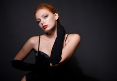 Portrait of attractive redhead model Stock Photo