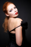 Portrait of attractive redhead model Stock Photos