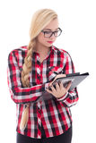 Portrait of attractive schoolgirl in eyeglasses with folder in h Stock Photography