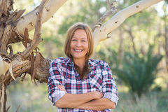 Portrait attractive senior country woman Royalty Free Stock Photos