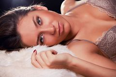 Portrait of attractive sexy brunette Royalty Free Stock Photography