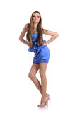 Portrait of attractive sexy girl  in blue dress Royalty Free Stock Image