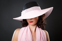 Portrait of attractive sexy woman with hat Stock Image